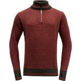 Devold Slogen Zip Neck Shale/Dark Red