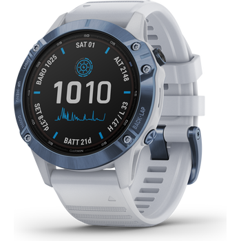 Garmin Fenix 6 Pro Solar, Mineral Blue Titanium with Whitestone Band